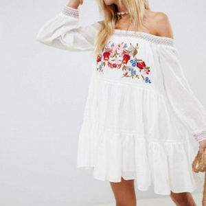 NWT Free People Sunbeams off shoulder Mini dress